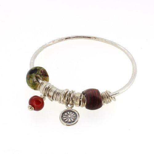 Carnelian bangle sterling silver Picasso jasper and wooden bead 3mm rod